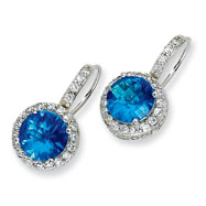 Sterling Silver Checker-cut Blue Topaz & Cubic Zirconia French Wire Earrings