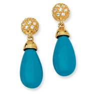 Gold-plated Sterling Silver Simulated Turquoise & Cubic Zirconia Post Earrings