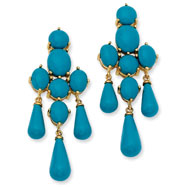 Gold-plated Sterling Silver Simulated Turquoise Dangle Post Earrings
