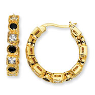 Gold-plated Sterling Silver Black & White CZ Hoop Earrings