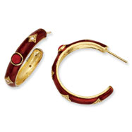 Gold-plated Sterling Silver Enamel Simulate Red Coral/Cubic Zirconia Hoop Earrings