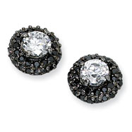 Black-plated Sterling Silver White & Black CZ Post Earrings