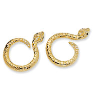 Gold-plated Sterling Silver Cubic Zirconia Snake Post Earrings