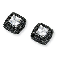 Black-plated Sterling Silver Asscher-cut White & Black CZ Post Earrings