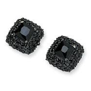 Black-plated Sterling Silver Asscher-Cut Black CZ Post Earrings