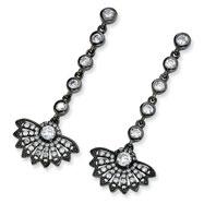 Black-plated Sterling Silver CZ Fan Dangle Post Earrings