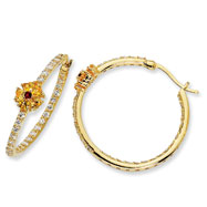 Gold-plated Sterling Silver Simulation Ruby & Yellow/White Cubic Zirconia Hoop Earrings