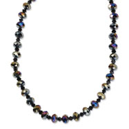 "Black-plated Aurora Borealis Black Crystal 16"" With Extension Necklace"