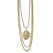 "Brass-tone Floral Locket 24"" Multi-strand Necklace"