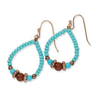 Copper-tone Aqua & Brown Beads Teardrop Dangle Earrings