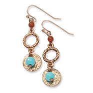 Copper-tone Aqua & Brown Beads Fancy Dangle Earrings
