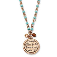 "Copper-tone Aqua Beads Peace Pendant 16"" With Extension Necklace"