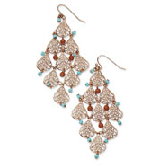 Copper-tone Aqua & Brown Beads Filigree Dangle Chandelier Earrings