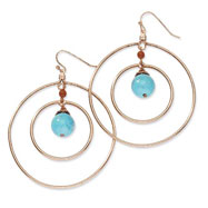 Copper-tone Aqua & Brown Beads Dangle Earrings