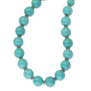 "Copper-tone Aqua Beads 16"" With Extension Necklace"