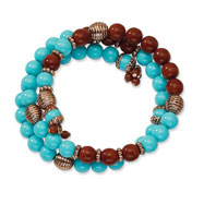 Copper-tone Aqua & Brown Beads Wrap Bracelet
