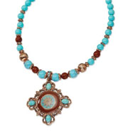"Copper-tone Aqua & Brown Beads Enameled 16"" With Extension Necklace"