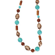 "Copper-tone Aqua & Brown Beads 44"" Necklace"