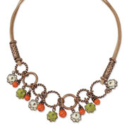 "Copper-tone Orange Enamel Floral Design 16"" With Extension Necklace"