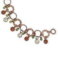 "Copper-tone Orange & Ivory Enamel, Green Beads 7"" Bracelet"