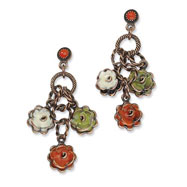 Copper-tone Green, Orange & Ivory Enamel Flowers Post Earrings