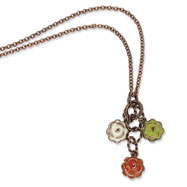 "Copper-tone Green, Orange & Ivory Enamel Flowers 16"" With Extension Necklace"