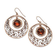 Copper-tone Circle Filigree With Sienna Crystal Dangle Earrings