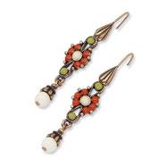 Copper-tone Green, Orange & Ivory Enamel Fancy Dangle Earrings
