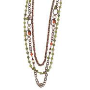 "Copper-tone Green, Orange & Ivory Enamel Multistrand 38"" Necklace"