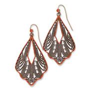 Copper-tone Orange Enamel Filigree Fancy Teardrop Dangle Earrings