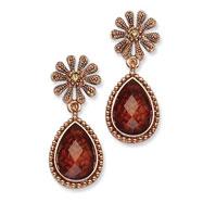 Copper-tone Light Colorado & Brown Crystal Post Dangle Earrings