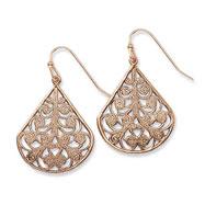 Copper-tone Floral Design Teardrop Dangle Earrings