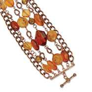 "Copper-tone Multicolor Crystal 7.25"" Bracelet"