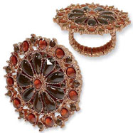 Copper-tone Brown Crystal Floral Design Stretch Ring