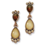 Copper-tone Brown Crystal & Golden Mother Of Pearl Post Dangle Earrings