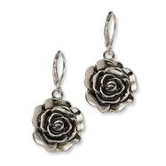 Silver-tone Antiqued Flower Dangle Earrings