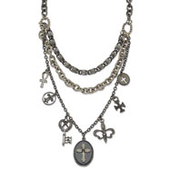 "Black-plated Cross & Key Dangles Multi Strand 17"" With Extension Necklace"