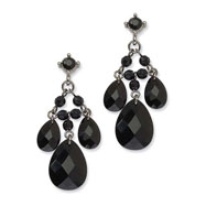 Black-plated Black Crystal Cascading Teardrops Post Chandelier Earrings