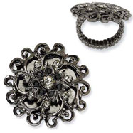 Black-plated Clear Crystals Floral Design Stretch Ring