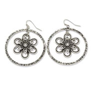 Silver-tone Hammered Hoop With Floral & Clear Crystal Dangle Earrings