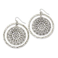 Silver-tone Hammered Hoop With Floral Disc Dangle Earrings
