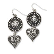 Silver-tone Heart & Sunburst With Clear Crystal Dangle Earrings