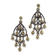 Black-plated & Brass-tone Fancy Chandelier Post Earrings