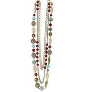 "Brass-tone Multi Strand Red, Green & Teal Beads 36"" Necklace"