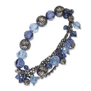 Silver-tone Light & Dark Blue Crystal Stretch Bracelet
