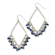 Silver-tone Sodalite & Blue Crystals Diamond Shaped Dangle Earrings