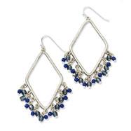 Silver-tone Sodalite & Blue Crystals Diamond Shaped Dangle Earrings