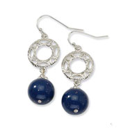 Silver-tone Blue Crystal Dangle Earrings