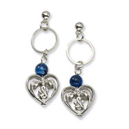 Silver-tone Blue Crystal Post Dangle Earrings