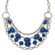 "Silver-tone Blue Beads 16"" With Extension Necklace"